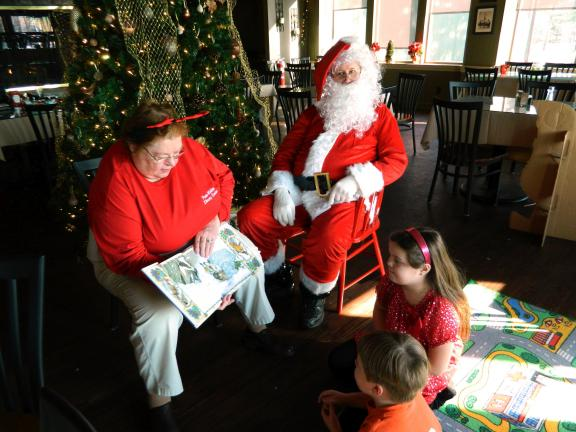 The Friends of the Penn-Kidder Library Center hosted a Breakfast with Santa Saturday at Boulder View Tavern in Lake Harmony. At left with Santa are Joseph Sauers, 6, Lake Harmony; David Sherrill, 6, Albrightsville; and Kiara Ginopolas, 6, Lake…