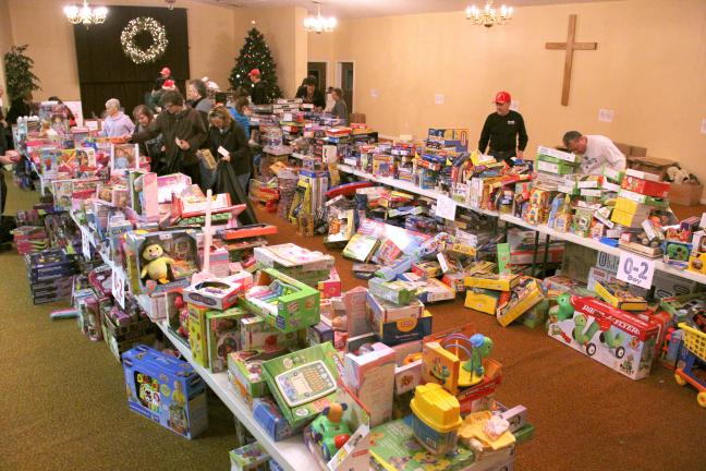 ANDREW LEIBENGUTH/TIMES NEWS The main area of the Salem Bible Fellowship Church in Lehighton resembles a toy warehouse.