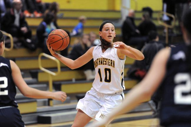 nancy scholz/times news Northwestern's Sara Jones looks for an open teammate against Northern Lehigh.