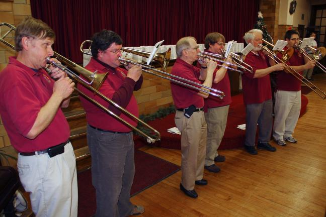 ANDREW LEIBENGUTH/TIMES NEWS The event also featured special music by the Bethlehem Area Moravian Trombone Choir, directed and conducted by Don Kemmerer, the trombone choir specializes in playing selections of Moravian music from the past and present.