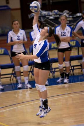 Photo courtesy of Misericordia University Misericordia's Cailin McCullion goes up for a kill during a match this season.