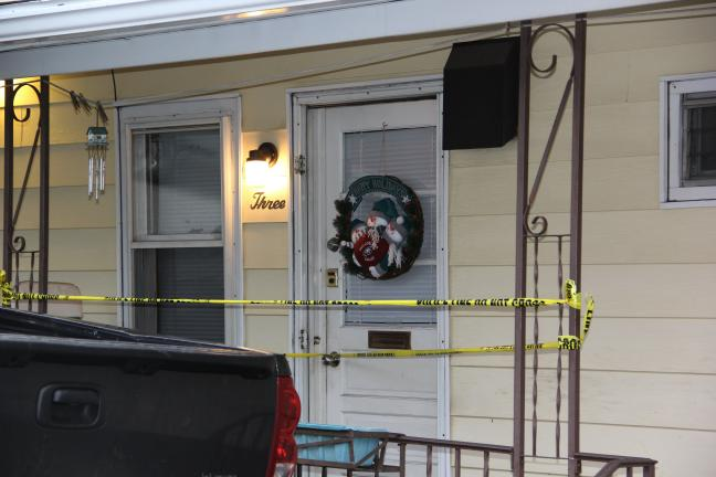 ANDREW LEIBENGUTH/TIMES NEWS This Mahanoy City apartment is where a 37-year-old man apparently shot and killed his wife Christmas morning, before turning the gun on himself.