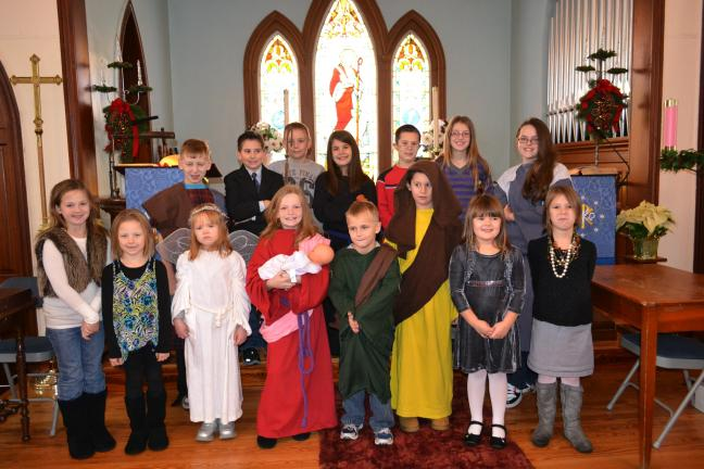 "The Sunday School class of St. Paul's Evangelical Lutheran Church performed ""The Not-So-Silent Night"" in front of family, friends and the church congregation during the annual Christmas pageant."