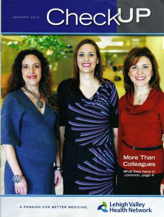 Tamaqua's three Menconi sisters, Kristin Menconi-Drost, MD, Karina Reed, MD, and Kara Coassolo, MD, are employed by Lehigh Valley Physician Group and featured on the cover of the current LVHN employee magazine.