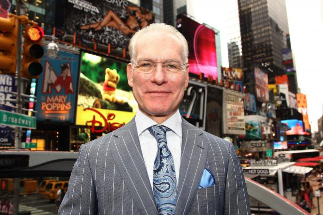 "In this July 19, 2012 file photo, host Tim Gunn poses for a photo while promoting the launch of the new season of ""Project Runway"" in New York's Times Square."