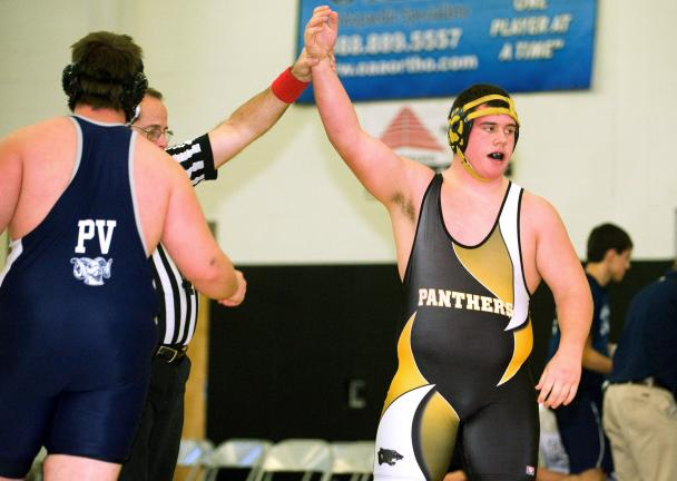 Bob Ford/TIMES NEWS Panther Valley's Rian Shubeck has his arm raised after gaining a win at the Anthracite Duals. Shubeck and the Panthers have moved up from Division 2 to Division 1 in the Schuylkill League this season.