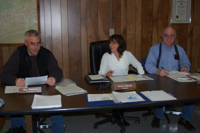 ELSA KERSCHNER/TIMES NEWS Towamensing supervisors Guy Seifert, Penny Kleintop and Tom Newman prepare to begin a new year in township government.
