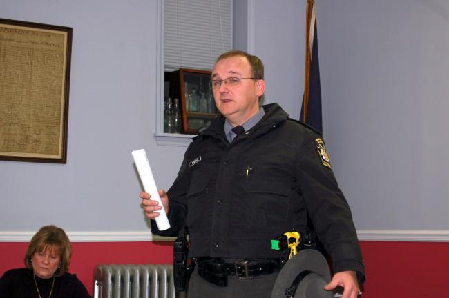 CHRIS PARKER/TIMES NEWS Pennsylvania state trooper Edward Sanchez warns Coaldale Borough Council that it has made a grave mistake in getting rid of its full-time police department.