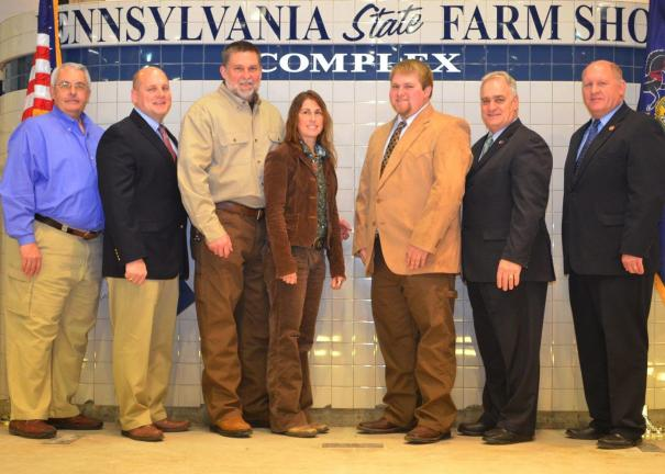 Special to the TIMES NEWS Luke Graver, fifth from left, of Franklin Township, was the recipient of a $3,500 scholarship from the Pa. Farm Show Scholarship Foundation. Others in photo are, from left, Bill McCauley of the Scholarship Foundation; state…