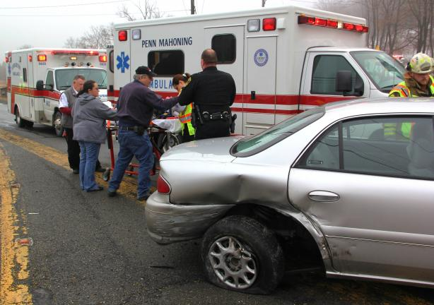 ANDREW LEIBENGUTH/TIMES NEWS Emergency personnel responded to the southern intersection of SR309 and SR443 in West Penn Township around 9:45 a.m. on Saturday after two vehicles collided, sending one man to the hospital. Township police reported that…