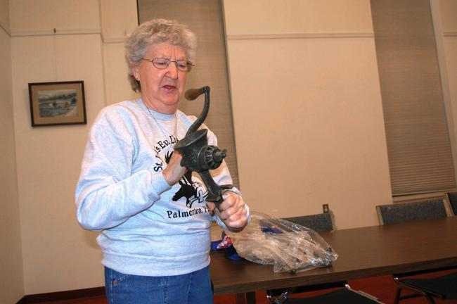 Lucille Rex brought two meat grinders to the Show and Tell. The small one she uses to grind nuts.