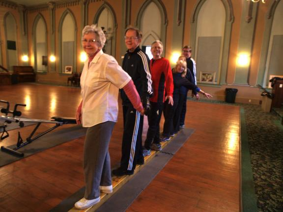 AL ZAGOFSKY/SPECIAL TO THE TIMES NEWS Members of the Mauch Chunk Museum Gerinastics class, standing on the balance beam. From left, Janet Drury, John Drury, Neil Bogen, Mary Bogen, Mary Stevenson and Bob Stevenson.