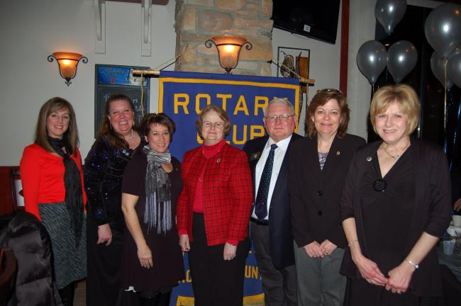 LINDA KOEHLER/TIMES NEWS The West End Rotary Club's officers welcomed special guest Rotary's District Governor, Art Peoples and his wife, at the club's 25th anniversary celebration. They are, left to right, Theresa Yocum, vice president; Dr. Karin…