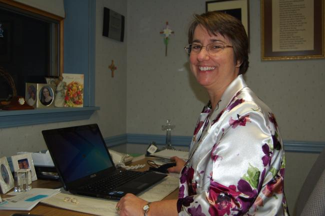LINDA KOEHLER/TIMES NEWS The Rev. Suzanne Brooks-Cope in her office at St. Matthew's UCC in Kunkletown.