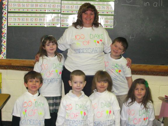 Special to the TIMES NEWS Pupils in Mrs. Hartz's kindergarten class at St. John Neumann Regional School's Slatington campus proudly wear their 100 Days of Kindergarten shirts.