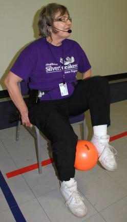 "ANDREW LEIBENGUTH/TIMES NEWS Staying active, seniors in Tamaqua take part in the weekly Silver Sneakers program held at the Tamaqua YMCA. ""Silver Sneakers is an energizing program that helps older adults take greater control of their health by…"