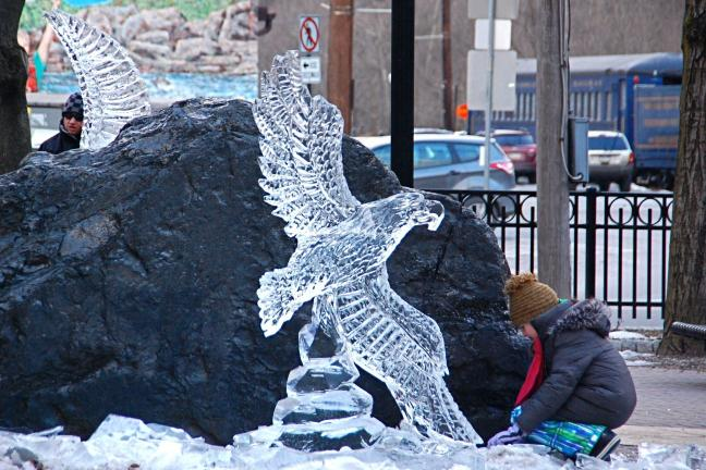VICTOR IZZO/SPECIAL TO THE TIMES NEWS This soaring Eagle was one of the ice sculptures created at both Josiah White Park and in front of the Mauch Chunk Opera House.