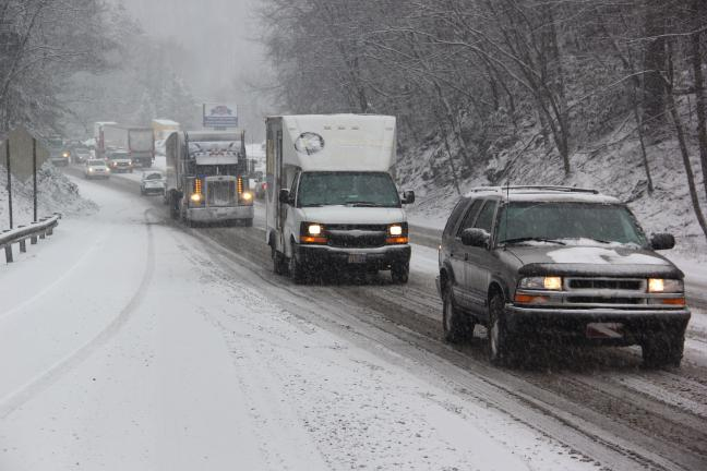 ANDREW LEIBENGUTH/TIMES NEWS  Both north and southbound traffic on the Hometown Hill, SR309, were at a stand-still during yesterday's afternoon's snowstorm. In addition to causing traffic to be backed up for about a mile in both directions, drivers…
