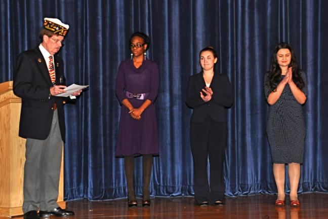 VICTOR IZZO/SPECIAL TO THE TIMES NEWS Moderator Harry J. Wynn III introduces contestants, left to right : Lydia Johnson, Chloe Schultz, and Dianna Dragonetti at the start of the Eastern Section Oratorical Contest sponsored by the Pa. American Legion…