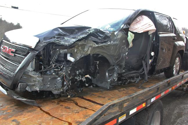 Police reported the driver of this SUV, traveling north on SR309, swerved into the path of an oncoming tractor trailer, resulting in a three-vehicle crash yesterday in West Penn.