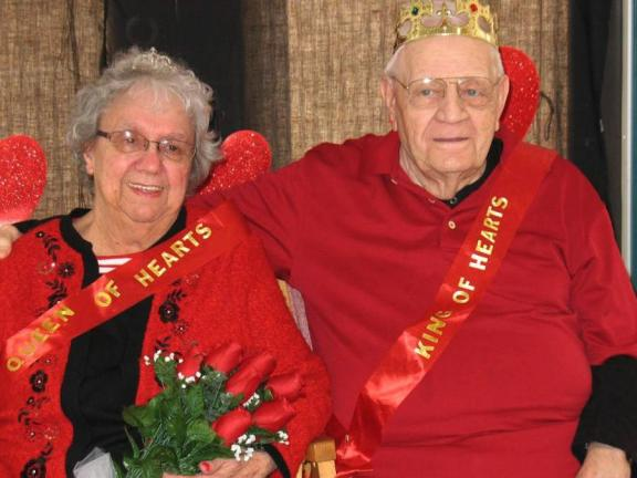 Special to the TIMES NEWS  Arlene Bowers, 79, of Slatington, and John Schatz, 85, of Walnutport, were selected as Queen and King of Hearts at the ninth annual Valentine's Day Party held recently at Blue Mountain Health System's Adult Day Services…