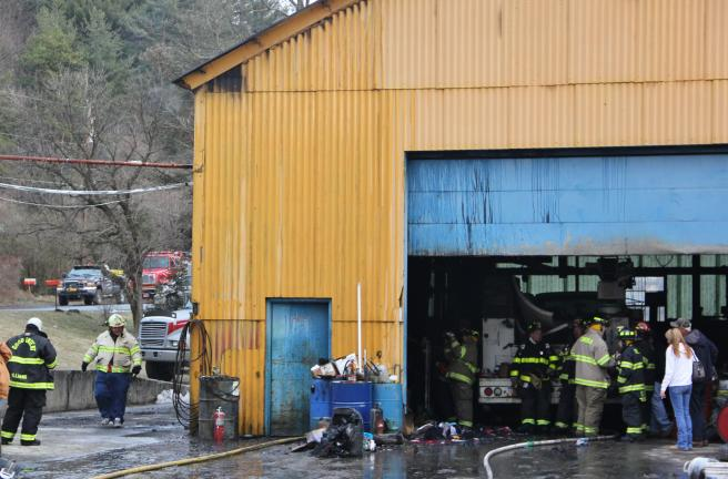 ANDREW LEIBENGUTH/TIMES NEWS Firefighters were called to 1020 Mountain Road yesterday around 4:30 p.m. for a commercial structure fire. Firefighters arrived to see flames shooting out of the top side of a commercial warehouse along the 1000 block of…