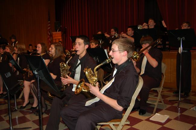 "Lehighton Area High School Jazz Band performs ""Birdland"" on Tuesday night during the 2013 Music in Our Schools Month Concert held at the Lehighton Area Middle School."