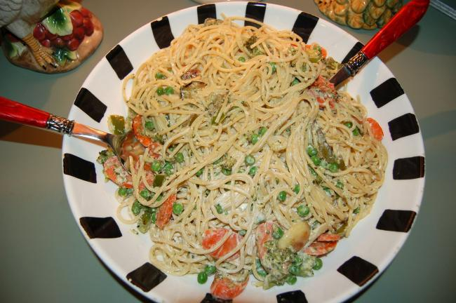 KAREN CIMMS/TIMES NEWS Fettucine Primavera Alfredo goes together quickly. If you don't have fettucine on hand, spaghetti works just as well.