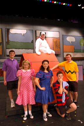 "LINDA KOEHLER/TIMES NEWS The lead characters in Pleasant Valley High School's musical production of ""You're a Good Man, Charlie Brown"" are left to right, Josh Weidenbaum (Schroeder), Katina Foley (Sally), T'mera Burger (Lucy), Anthony Zarczyki …"