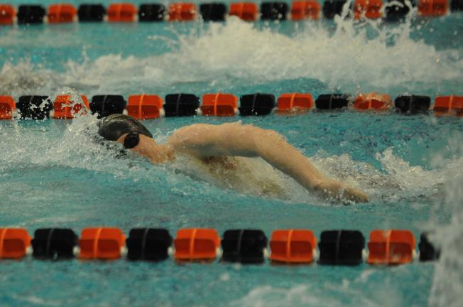 nancy scholz/times news Northwestern's Trey Shackleton swims the 200 freestyle at the PIAA Class AA Championships on Wednesday at Bucknell University. Shackleton earned a medal in the event with a seventh place finish.