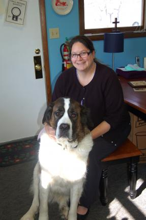 LINDA KOEHLER/TIMES NEWS The Rev. Elizabeth Ann Melot of Zion Lutheran Church with her St. Bernard, Maisie, says her trip to the Holy Land was an incredible experience.