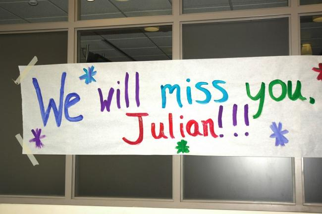 Special to the TIMES NEWS This sign greeted Julian Gonzalez of Slatington at the Good Shepherd Health & Technology Center in Allentown as part of a celebration to honor Julian, who recently graduated from Pediatric Therapy at Good Shepherd.