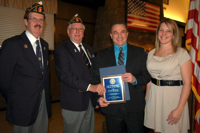 Shoemaker-Haydt American Legion Post 314, Lehighton, celebrated the American Legion's 94th birthday during an awards program held Monday at the Legion Post. Honored with the Police Officer of the Year award was Robert DeFuso. From left are Harry J…