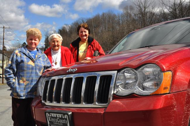 From left, Canadians Rosanne, Felicia and Rita Donahoe were stranded in Tamaqua Tuesday and Wednesday after a harrowing vehicle breakdown on I-81.