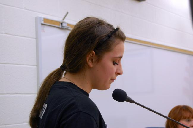 CHRIS PARKER/TIMES NEWS Lady Panthers player Madison Blasko implores the Panther Valley School Board on Thursday to keep head girls basketball coach Josh Wank.