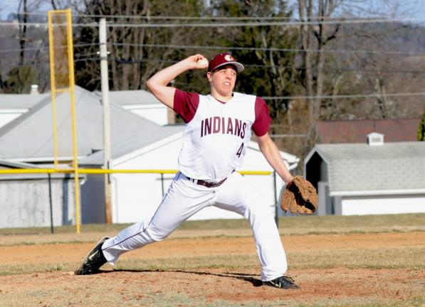 Lehighton's Thatcher David unwinds with a pitch against Jim Thorpe. David tossed four shutout innings as the Indians rolled to a 13-0 victory.