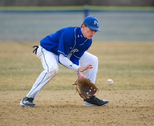 bob ford/times news Pleasant Valley's Dan Hrbek fields a ground ball at shortstop during the Bears game against East Stroudsburg North.