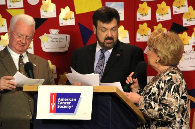 ANDREW LEIBENGUTH/TIMES NEWS Telethon announcers Jerry Knowles, left; Joe Krushinsky, center; and Maureen Donovan read aloud pledges during the 34th annual Carbon-Tamaqua ACS Telethon held over the weekend.