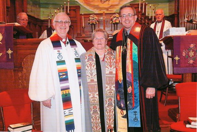 SPECIAL TO THE TIMES NEWS Pastor Lillian Andreas was installed as Pastor-Teacher at Jacob's United Church of Christ, Weissport. From left are, front, the Rev,/. Cliff Harring, Pastor Lillian Andreas and the Rev. Alan Miller; and back, left, the Rev…