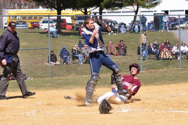 mike feifel/times news Northern Lehigh catcher Austin Sodl forces out Lehighton's Josh Kern at home.