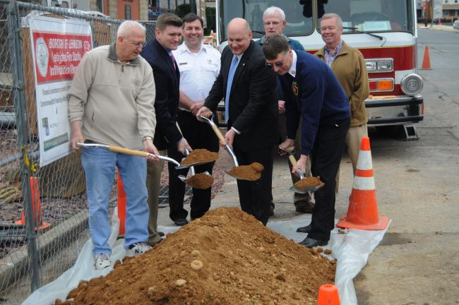 Ron Gower/TIMES NEWS Conducting groundbreaking for the new addition to the Lehighton fire station are, from left, Grant Hunsicker, president of Lehighton Borough Council; state Sen. John Yudichak, state Rep. Doyle Heffley, and Lehighton Fire Chief…