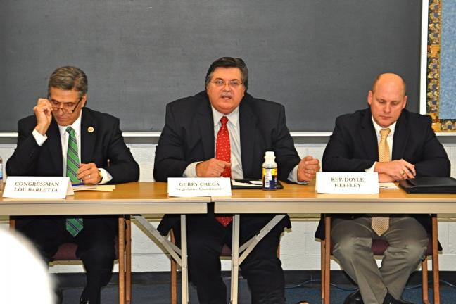 Pictured at the PSBA Spring Legislative Meeting in Weatherly are, left to right : Congressman Lou Barletta (R-11th); Gerry Grega, PSBA Legislative Coordinator/Carbon County; and PA Representative Doyle Heffley (R-122nd).
