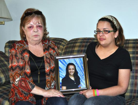 DONALD R. SERFASS/TIMES NEWS  Donna Kaminitsky, left, and Amy Hayes, grandmother and mother, respectively, are heartbroken over the unexpected loss of 14-year-old HaiLee.