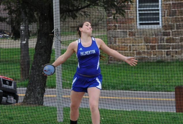 RON GOWE/TIMES NEWS Palmerton's Sabreena Strauch takes a throw in the discus in Tuesday's meet against Palisades and Pen Argyl. Strauch won the javelin and placed third in the shot put.