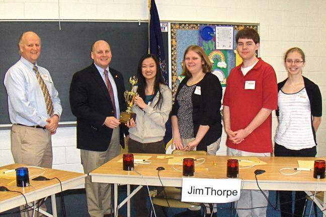 VICTOR IZZO/SPECIAL TO THE TIMES NEWS Winning team of Jim Thorpe, left to right : James Hauze, Advisor, Representative Doyle Heffley, Tai Xi Gentile, Erin Kelly, Bronson Ford, and Haley Cope.