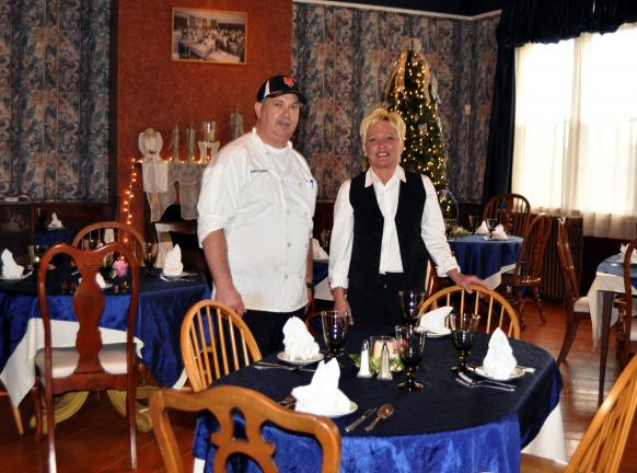 DONALD R. SERFASS/TIMES NEWS Beverly Mashack Bates, right, and chef John Fulton, both formerly of Scrafford's Inn and Restaurant, join with Kory Bates and others to unveil Chantilly's Restaurant and Banquet Hall, Barnesville.