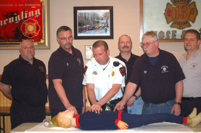 CAROL ZICKLER/SPECIAL TO THE TIMES NEWS CPR and basic first aid certification were recently performed by members of the Nesquehoning Ambulance Corp. Pictured are Joe Trimmel, Donald Schlier and Joe Folk, assistant chiefs New Columbus Fire Company…