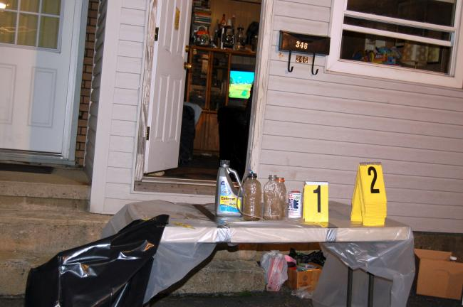 CHRIS PARKER/TIMES NEWS Mobile meth lab equipment removed from a house at 346 W. Patterson St., Lansford, during a raid Thursday night.