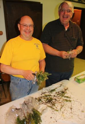 ANDREW LEIBENGUTH/TIMES NEWS West Penn Lion Robert Neumoyer, project coordinator, left, and Gary Kistler, President, wrap seedlings in preparation to distribute them to all Tamaqua Elementary School students.