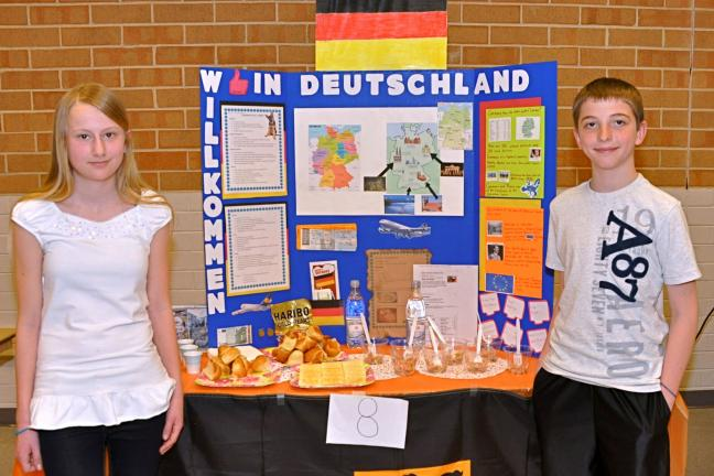 VICTOR IZZO/SPECIAL TO THE TIMES NEWS The European nation of Germany was represented during the L. B. Morris Elementary School's Multicultural Night by Chiara Vea (left) and Bethan Melber.